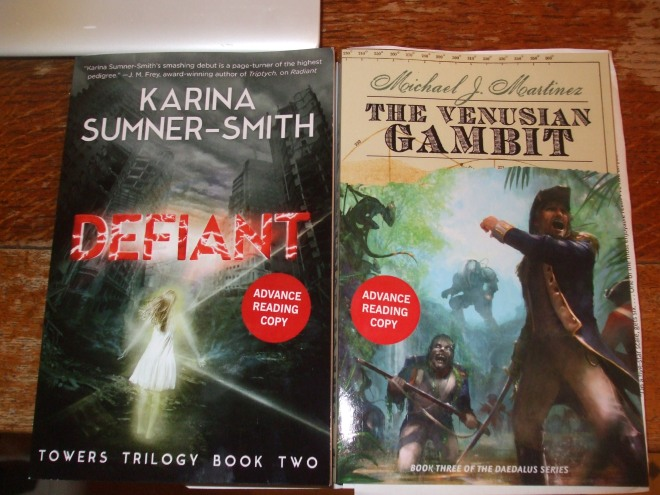 Karina Sumner-Smith's DEFIANT and Michael J. Martinez's THE VENUSIAN GAMBIT.