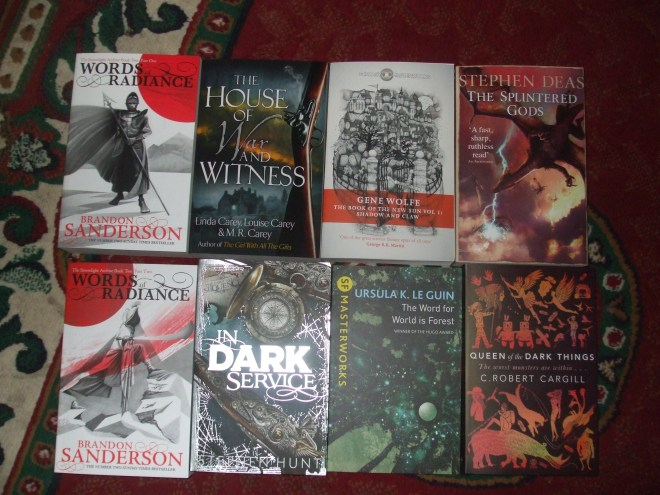 Eight Gollancz paperbacks.